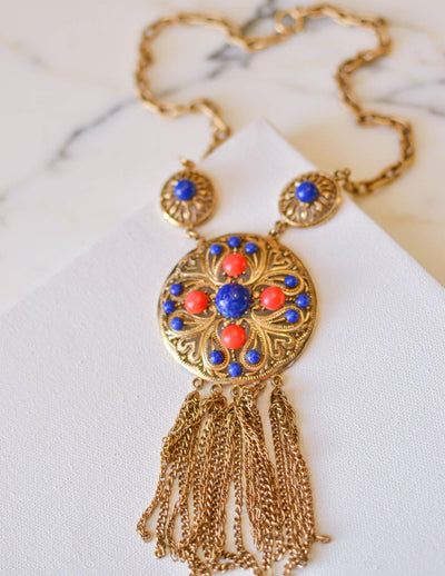 Coral and Lapis Medallion Statement Necklace by Lisner by Lisner - Vintage Meet Modern Vintage Jewelry - Chicago, Illinois - #oldhollywoodglamour #vintagemeetmodern #designervintage #jewelrybox #antiquejewelry #vintagejewelry