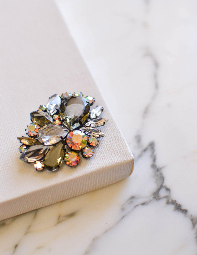 Aurora Borealis, Clear Crystal, Diamante, and Smoke Rhinestone Brooch - Vintage Meet Modern  - 1