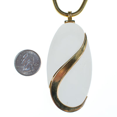 Vintage Alice Caviness White Lucite and Gold Mod Statement Pendant Necklace by Vintage Meet Modern  - Vintage Meet Modern Vintage Jewelry - Chicago, Illinois - #oldhollywoodglamour #vintagemeetmodern #designervintage #jewelrybox #antiquejewelry #vintagejewelry