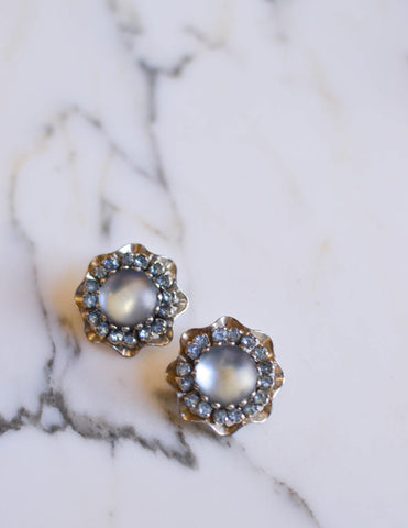 Blue Chalcedony Rhinestone Earrings