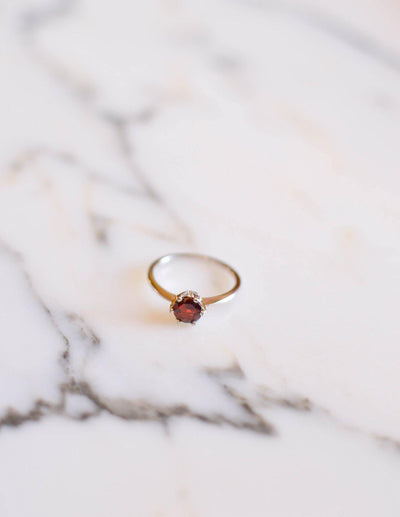 Garnet Solitaire Ring set in Sterling Silver by Sterling Silver - Vintage Meet Modern - Chicago, Illinois