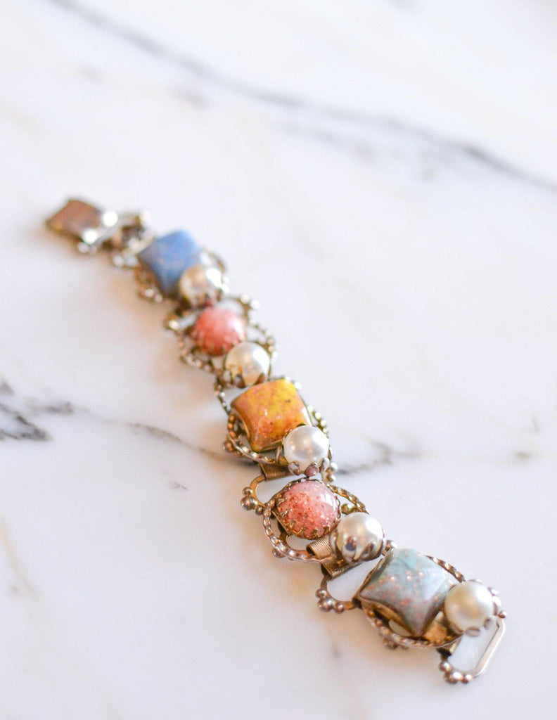 Colorful Confetti Lucite and Pearl Bracelet - Vintage Meet Modern  - 1