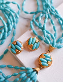 Turquoise Rice Bead Torsade Necklace and Earring Set - Vintage Meet Modern  - 1