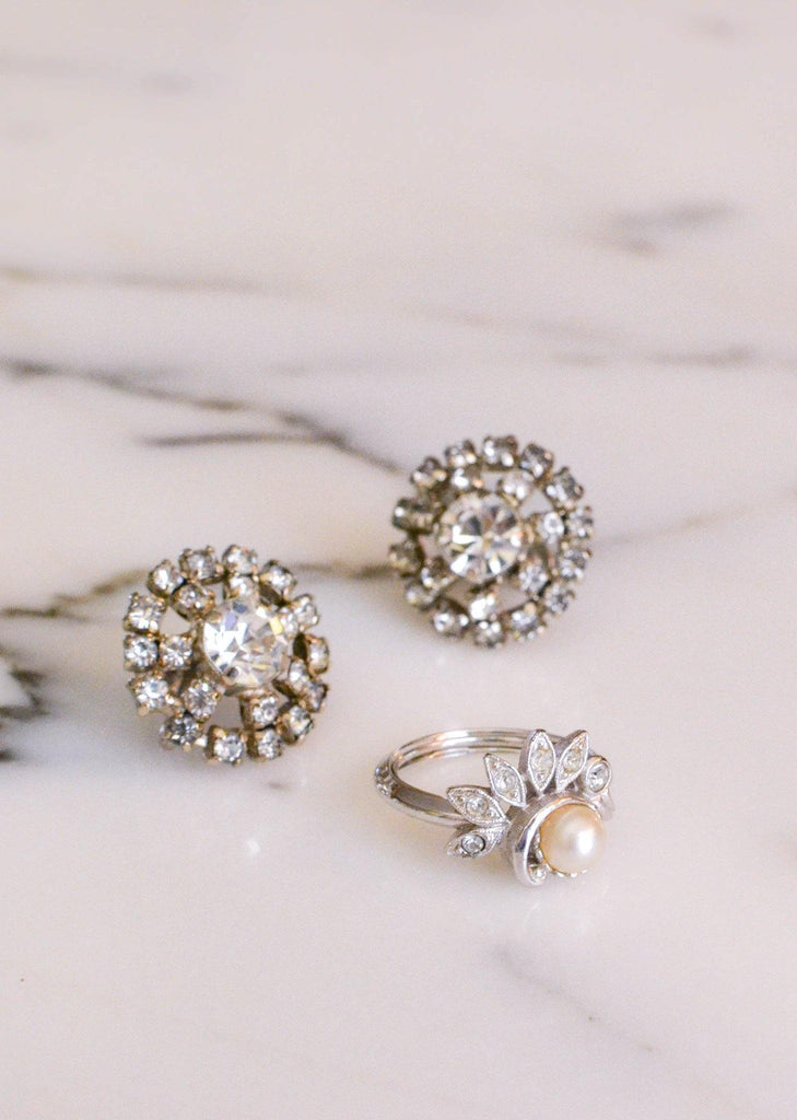 Diamante Rhinestone Earrings - Vintage Meet Modern  - 1