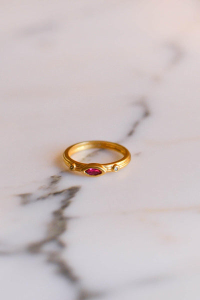 Ruby and CZ Band Ring by Unsigned Beauty - Vintage Meet Modern - Chicago, Illinois