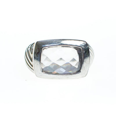 Chunky Faceted Crystal Ring With Silver Cable Design by Unsigned Beauty - Vintage Meet Modern - Chicago, Illinois