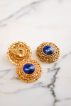 Bold Gold and Blue Rivoli Rhinestone Earrings and Brooch Set, Jewelry Sets - Vintage Meet Modern