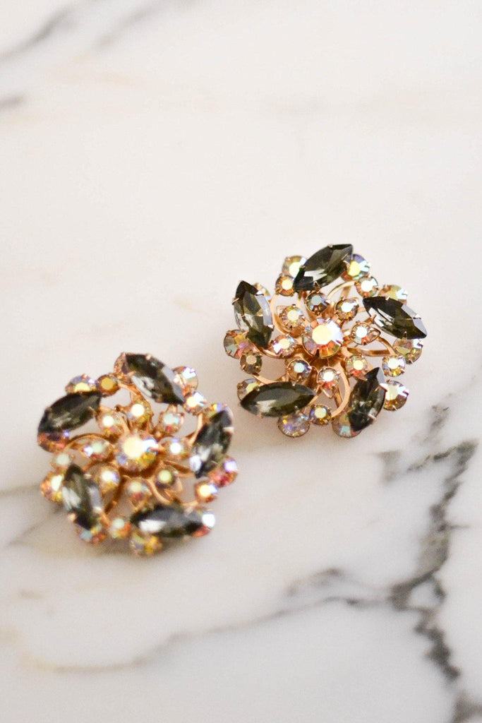 Black Diamond and Aurora Borealis Rhinestone Statement Earrings - Vintage Meet Modern  - 5
