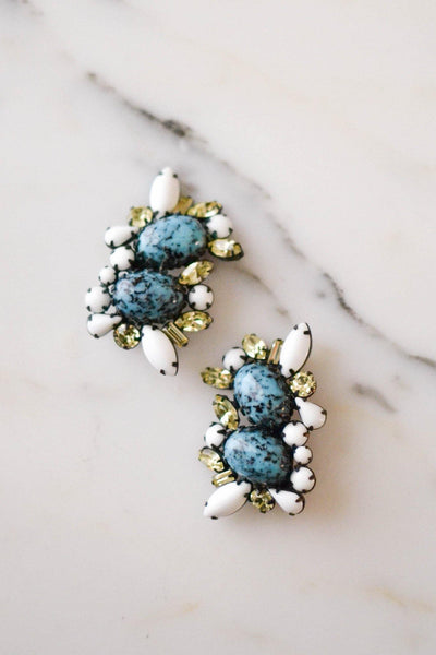 Turquoise & Milk Glass, Yellow Citrine Rhinestone Earrings, Statement Earrings by Unsigned Beauty - Vintage Meet Modern - Chicago, Illinois