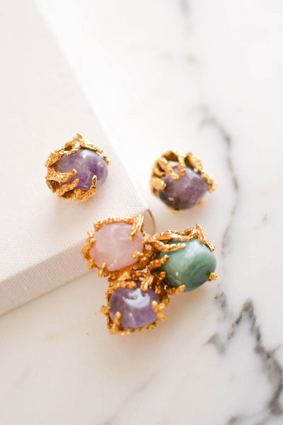 Vogue Jewelry Green,Purple Jade and Rose Quartz Brooch and Earrings Set by Vogue Jewelry - Vintage Meet Modern Vintage Jewelry - Chicago, Illinois - #oldhollywoodglamour #vintagemeetmodern #designervintage #jewelrybox #antiquejewelry #vintagejewelry
