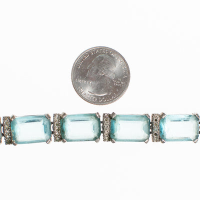 Art Deco Blue Emerald Cut Crystal and Diamante Rhinestone Bracelet by Vintage Meet Modern  - Vintage Meet Modern - Chicago, Illinois