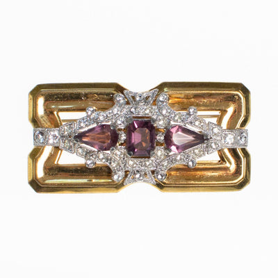 Vintage McClelland Barclay Brooch with Amethyst Crystal and Diamante Rhinestones by McClelland and Barclay - Vintage Meet Modern Vintage Jewelry - Chicago, Illinois - #oldhollywoodglamour #vintagemeetmodern #designervintage #jewelrybox #antiquejewelry #vintagejewelry