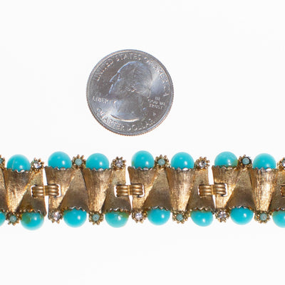 Vintage Judy Lee Gold Bracelet with Rhinestones and Turquoise Beads by Judy Lee - Vintage Meet Modern Vintage Jewelry - Chicago, Illinois - #oldhollywoodglamour #vintagemeetmodern #designervintage #jewelrybox #antiquejewelry #vintagejewelry
