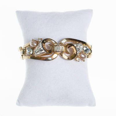 Vintage Crown Trifari Pearl and Diamante Rhinestone Articulated Hinged Bangle Bracelet by Crown Trifari - Vintage Meet Modern Vintage Jewelry - Chicago, Illinois - #oldhollywoodglamour #vintagemeetmodern #designervintage #jewelrybox #antiquejewelry #vintagejewelry