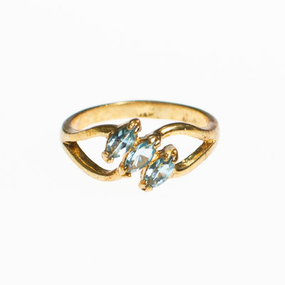 Blue Topaz Crystal Three Stone Ring by Vintage Meet Modern  - Vintage Meet Modern - Chicago, Illinois