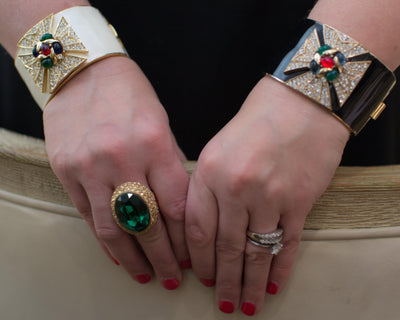 Ciner Maltese Cross Cuff Bracelet in Black Enamel With Emerald, Ruby, and Sapphire Crystal Cabochons by Ciner - Vintage Meet Modern - Chicago, Illinois