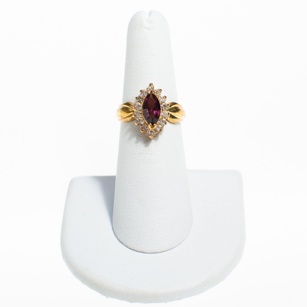 Amethyst Crystal Marquise Cut Princess Style Statement Ring, Ring - Vintage Meet Modern