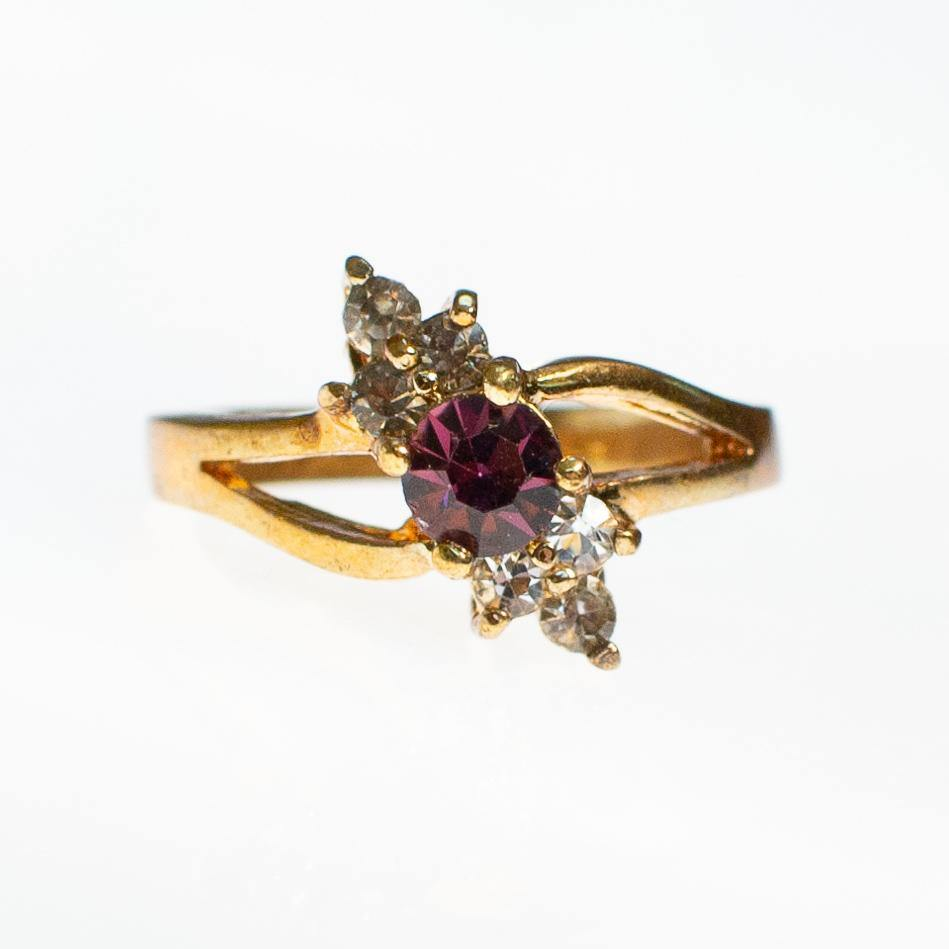 Amethyst Crystal and Diamante Crystal Statement Ring, Ring - Vintage Meet Modern