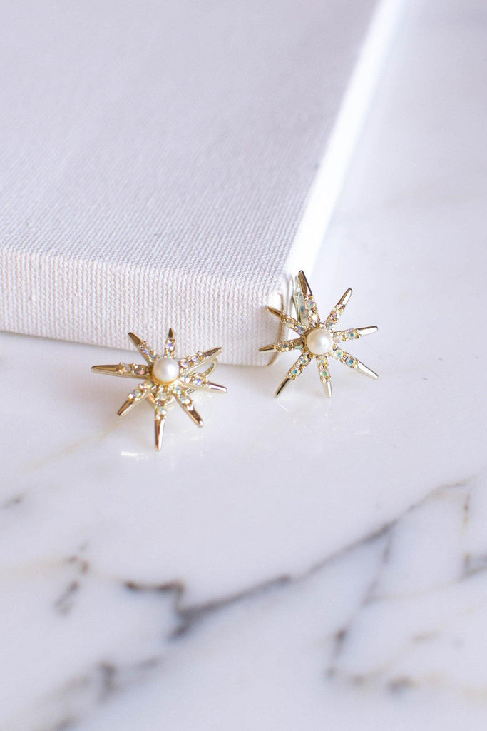 Judy Lee Gold Rhinestone Star Earrings