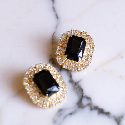 Jet Black Crystal and Rhinestone Statement Earrings by Unsigned Beauties - Vintage Meet Modern - Chicago, Illinois