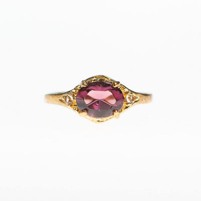 Amethyst Crystal, East/West Oval Setting, Diamante Crystal Accents, Ring - Vintage Meet Modern