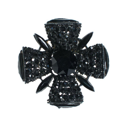 Vintage Black Jet Crystal Maltese Cross Brooch by 1960s - Vintage Meet Modern - Chicago, Illinois