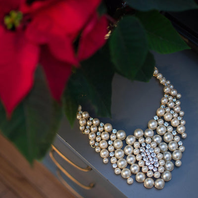 Audrey Pearl and Rhinestone Bib Statement Necklace by Vintage Meet Modern  - Vintage Meet Modern Vintage Jewelry - Chicago, Illinois - #oldhollywoodglamour #vintagemeetmodern #designervintage #jewelrybox #antiquejewelry #vintagejewelry