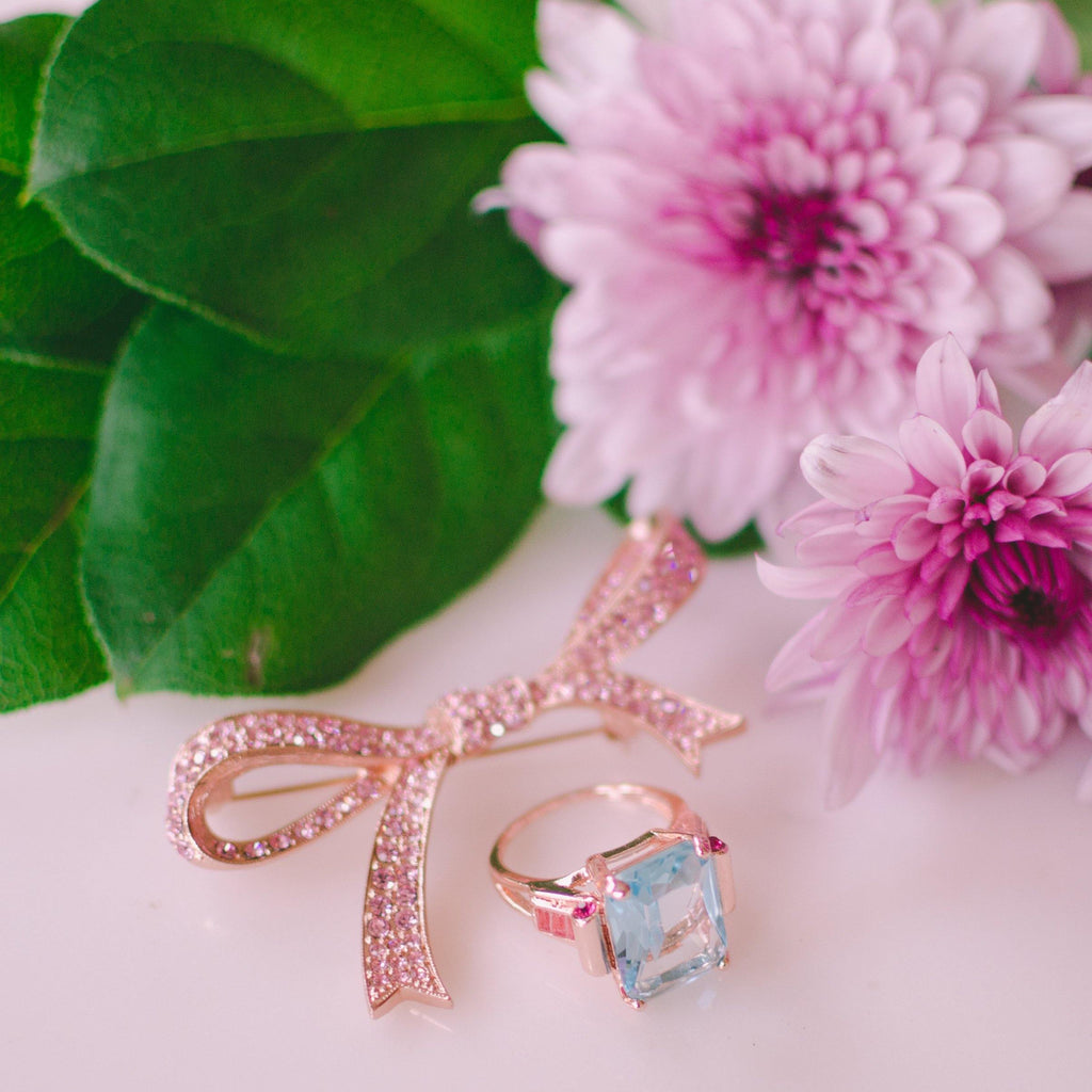 Art Deco Inspired Aqua and Pink Crystal Rose Gold Plated Ring, Ring - Vintage Meet Modern