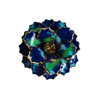 Vintage Blue and Green Enamel Painted Flower Brooch by Vintage Meet Modern  - Vintage Meet Modern - Chicago, Illinois