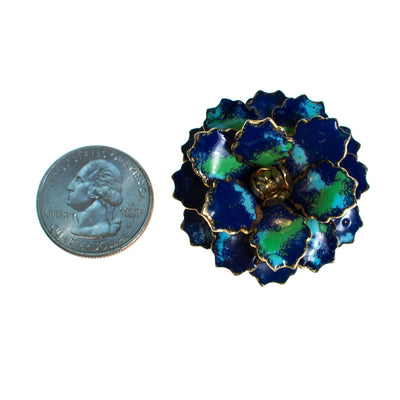 Vintage Blue and Green Enamel Painted Flower Brooch, Brooch - Vintage Meet Modern