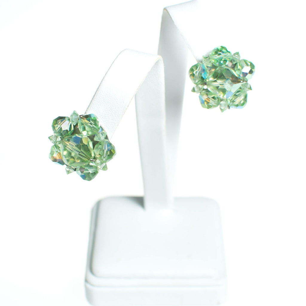 Vintage Light Green Aurora Borealis Crystal Cluster Earrings, Earrings - Vintage Meet Modern