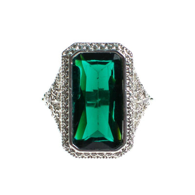 Art Deco Style Emerald Crystal Statement Ring by Vintage Meet Modern  - Vintage Meet Modern Vintage Jewelry - Chicago, Illinois - #oldhollywoodglamour #vintagemeetmodern #designervintage #jewelrybox #antiquejewelry #vintagejewelry