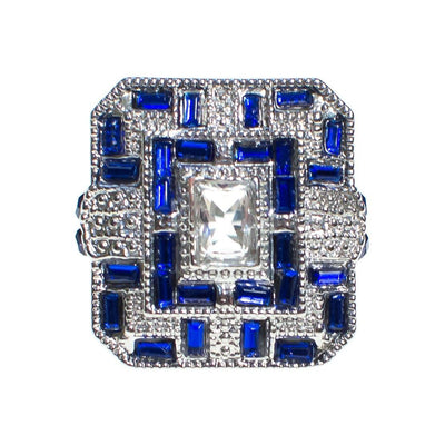 Art Deco Style Sapphire and Crystal Statement Ring by Vintage Meet Modern  - Vintage Meet Modern Vintage Jewelry - Chicago, Illinois - #oldhollywoodglamour #vintagemeetmodern #designervintage #jewelrybox #antiquejewelry #vintagejewelry
