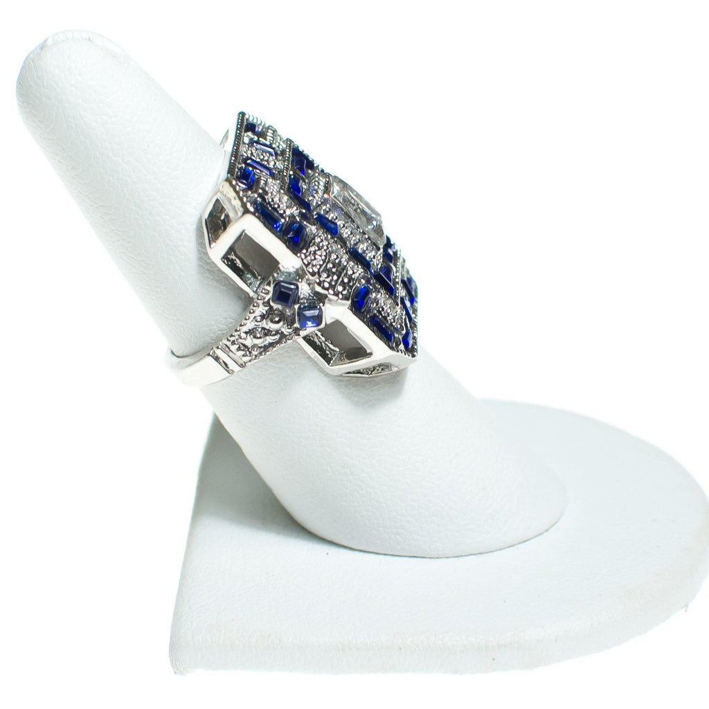 Art Deco Style Sapphire and Crystal Statement Ring, Ring - Vintage Meet Modern
