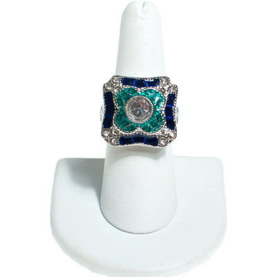 Art Deco Style Sapphire Blue, Emerald Green Enamel and Crystal Ring by Vintage Meet Modern  - Vintage Meet Modern - Chicago, Illinois