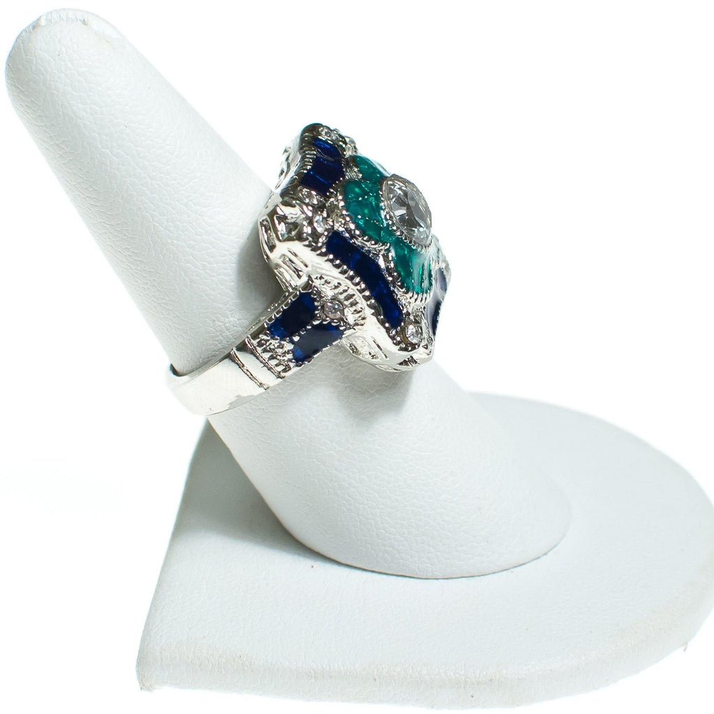 Art Deco Style Sapphire Blue, Emerald Green Enamel and Crystal Ring,  - Vintage Meet Modern