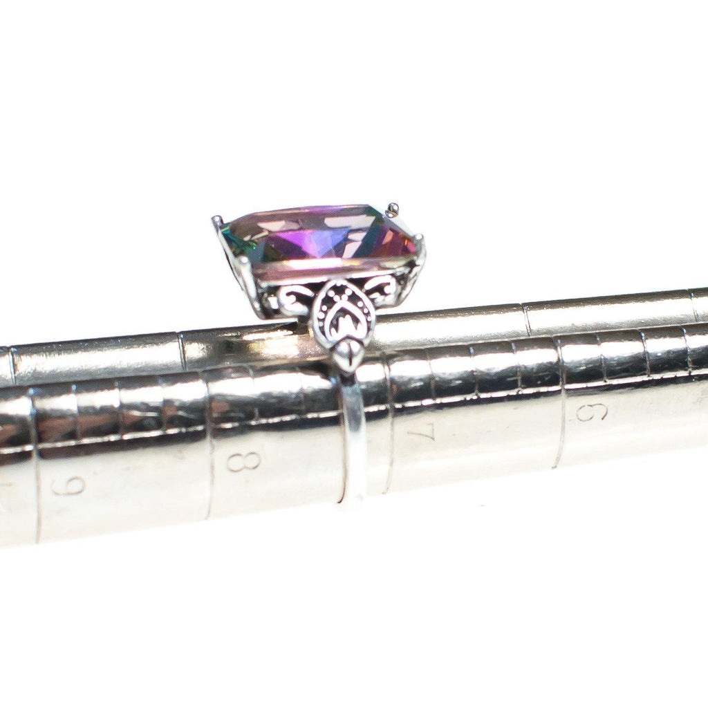 Large Mystic Topaz Ring with Filigree Accents, Ring - Vintage Meet Modern