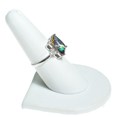 Small Mystic Topaz Ring with CZ Accents, Ring - Vintage Meet Modern