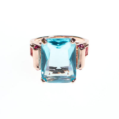 Art Deco Inspired Aqua and Pink Crystal Rose Gold Plated Ring by Vintage Meet Modern  - Vintage Meet Modern - Chicago, Illinois