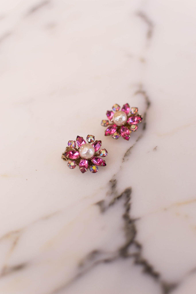 Pink Rhinestone and Pearl Flower Earrings