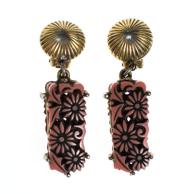 Vintage Lucite Coral Carved Daisy Statement Earrings By Selro by Selro - Vintage Meet Modern Vintage Jewelry - Chicago, Illinois - #oldhollywoodglamour #vintagemeetmodern #designervintage #jewelrybox #antiquejewelry #vintagejewelry