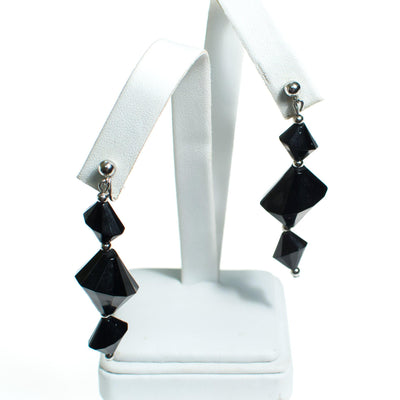Vintage Silver and Black Crown Geometric Trifari Dangle Statement Earrings, Clip on by Crown Trifari - Vintage Meet Modern Vintage Jewelry - Chicago, Illinois - #oldhollywoodglamour #vintagemeetmodern #designervintage #jewelrybox #antiquejewelry #vintagejewelry