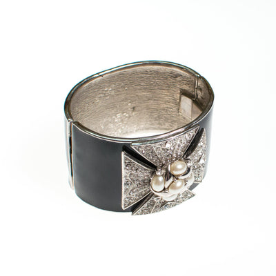 Ciner Maltese Cross Cuff Bracelet in Black Enamel With Crystals and Pearls by Ciner - Vintage Meet Modern - Chicago, Illinois