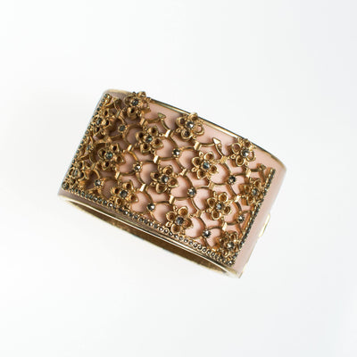 Ciner Secret Garden Cuff Bracelet in Blush by Ciner - Vintage Meet Modern Vintage Jewelry - Chicago, Illinois - #oldhollywoodglamour #vintagemeetmodern #designervintage #jewelrybox #antiquejewelry #vintagejewelry