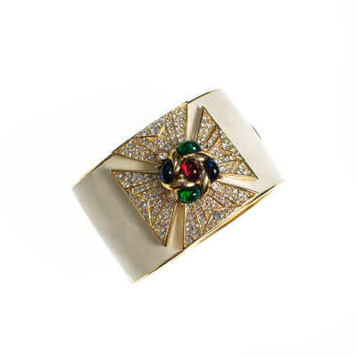 Ciner Maltese Cross Cuff Bracelet in Ivory Enamel With Emerald, Ruby, and Sapphire Crystal Cabochons by Ciner - Vintage Meet Modern - Chicago, Illinois