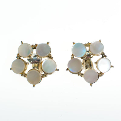 Vintage Mother of Pearl Disc Earrings