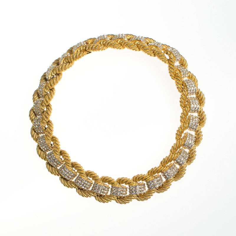 ad4ec89e52c77 Ciner Love Links Necklace in Gold with Pave Crystals