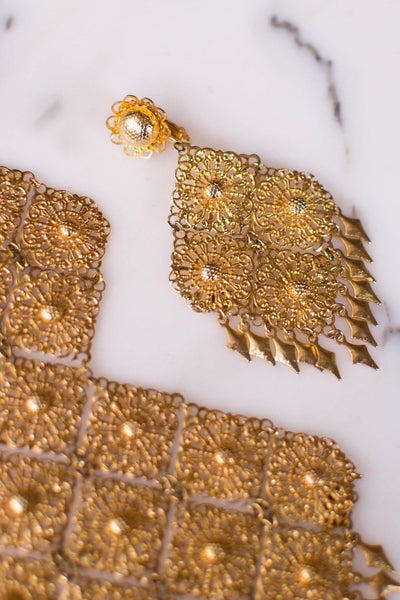Huge 1960s Gold Filigree Dangling Statement Earrings by Unsigned Beauty - Vintage Meet Modern Vintage Jewelry - Chicago, Illinois - #oldhollywoodglamour #vintagemeetmodern #designervintage #jewelrybox #antiquejewelry #vintagejewelry