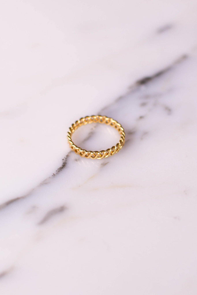 Gold Tone Braided Band Ring