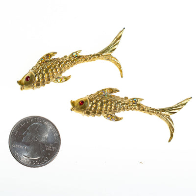Vintage Jumping Koi Fish Scatter Pin Brooch Set, Gold Tone with Rhinestones